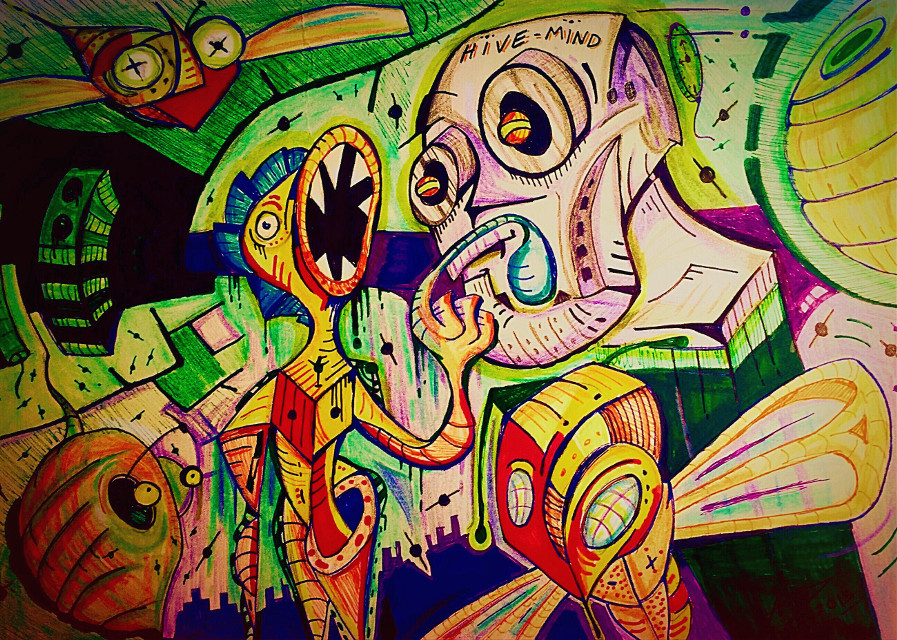 Hive : Artwork by Aaron D  #art #postmodern #abstract #surreal #weird