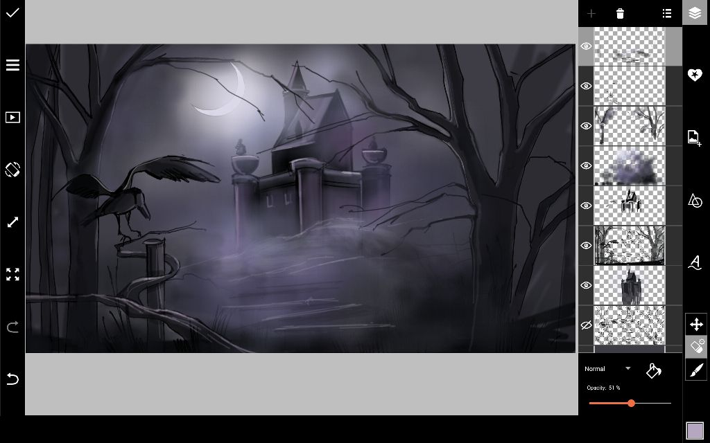 draw castle hill for halloween drawing