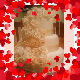 wedding love cake hearts