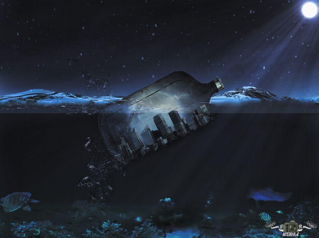 City afloat  #surreal #surrealism #moon #night  #sea #urban #watersplash #bottles