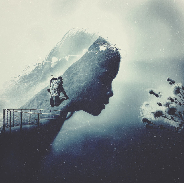 Wish you all a great day😊😊🌞! (2 original pics:unsplash.com) #edited #doubleexposure #fantasy #people #flower #blue