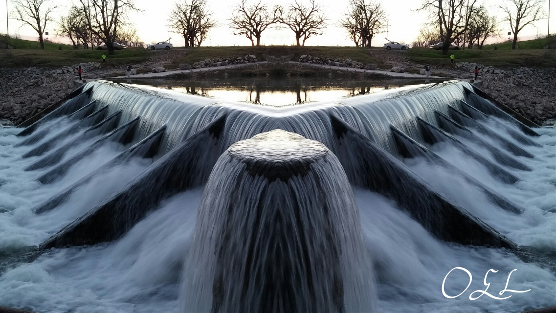 Featured. Two in one night. Thanks again @PA 😀💖 #Mirrored  #Blue  #Spillway  #RushingWater  #Evening  #Sunset