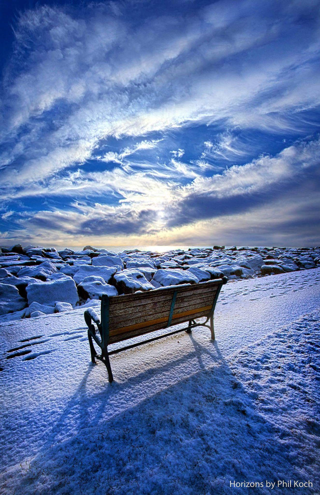 """ Passing the Time Away "" - Horizons by Phil Koch.  #snow #winter #light #landscape #mood #peace #sunrise #rural #nature #photography #colorful #blue #white #park #bench"