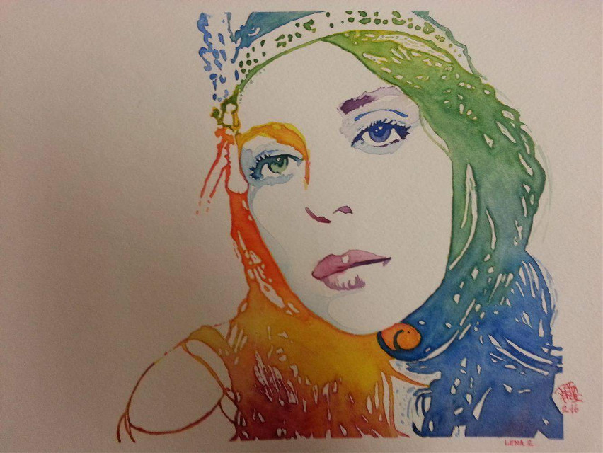 """""""Lena #2"""" Watercolor Portrait Painting Of My Gorgeous Girlfriend Lena By Justin Frehs. (All done by hand...no digital work what so ever or filters. I draw my sketch and paint ALL FREEHAND for all my pieces)"""