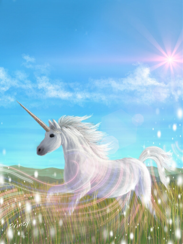 #WDPunicorn (100% using draw tool + #mask + #lensflare) If you like my drawing, plz do Vote for it.  #digitaldrawing #drawing #art #unicorn #animal #nature #colorful #magical #sky