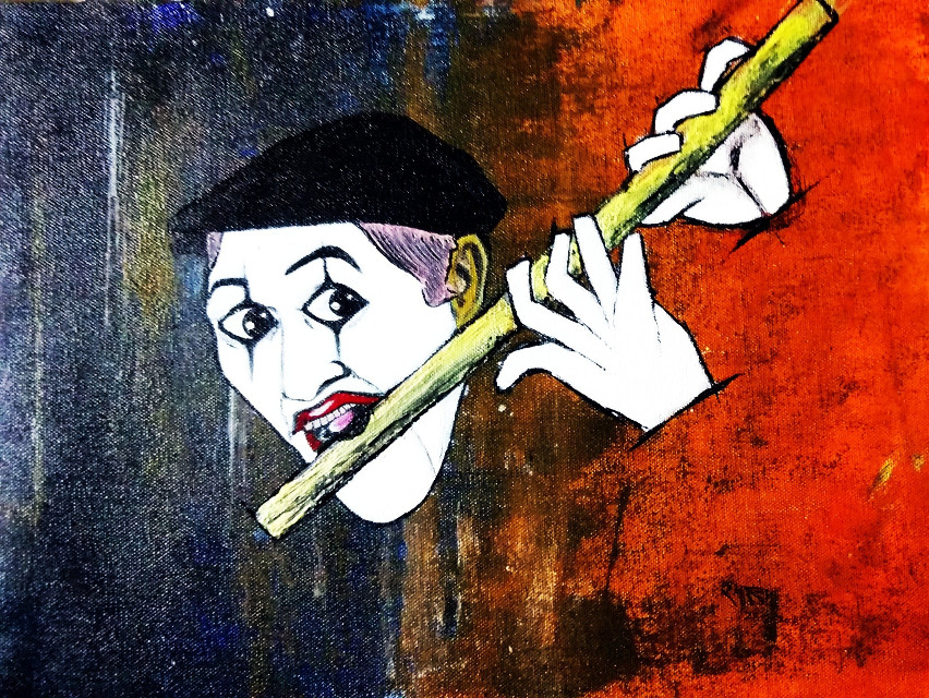 Just playing...  #blackandwhite #colorful #colorsplash #emotions #cute #love #music #pencilart #people #popart #acrylic#retro#ethnic#face#mask#mime#beautiful#flute#playing#art#artist#absyract#modern art#harmony#melody