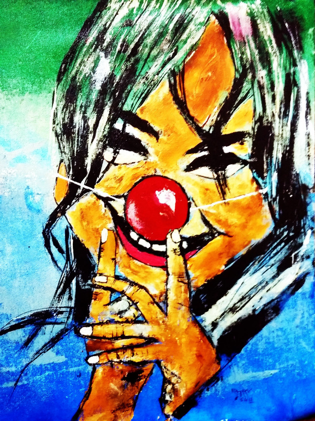 """The Wicked..... Acrylic on canvas 16"""" 20"""" #baby #colorful #colorsplash #cute #emotions #freetoedit #love #nature #oldphoto #pencilart #wicked#joker#art#artists#modernart#abstractart#canvas#canvasart#laughter#fineart#acrylicart#retro#thoughtful"""