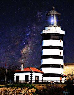 lighthouse doubleexposure lansflare freetoedit